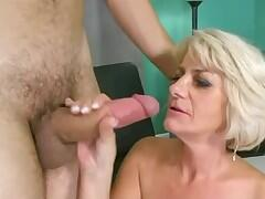 Blonde lady and young cock in action